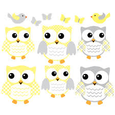 yellow and grey owl wall decal with bird wall decor for kids rooms yellow and grey owl art for kids with bird wall decals for children