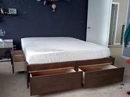 King Size Platform Bed With Storage Bed Frames Twin Bed Frame With Storage Beds With Storage Drawers