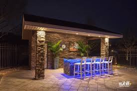 colored led lighting under counter of outdoor kitchen outdoor