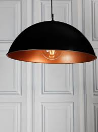 Copper Pendant Light Uk Black And Copper Dome Pendant Light 50cm 277 Lighting