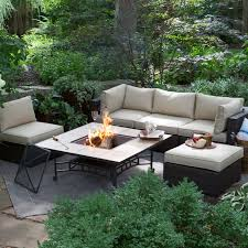 Fire Pit And Chair Set Belham Living Marcella All Weather Wicker 6 Piece Sectional Fire