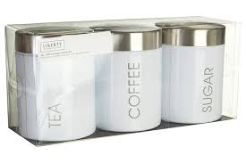 White Kitchen Canister Set Premier Housewares Liberty Tea Coffee And Sugar Canisters Set