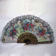 folding fans vintage style floral lace fan fabric cloth mini fan pocket