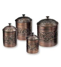 canister set for kitchen kitchen canister set antique copper set of 4 in kitchen canisters