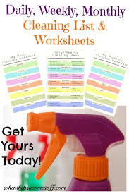 free home cleaning worksheets for easy organization