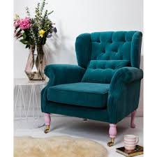 Blue Velvet Wingback Chair Wing Chair In Petrol Velvet With Small Cushion