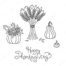 doodle thanksgiving vintage sheaf of wheat and pumpkin freehand