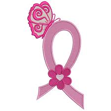cancer awareness ribbon with butterfly and flower filled machine