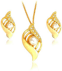 gold jewelry necklace sets images Buy 22k gold plated pearl and rhinestone jewelry set 2 piece jpg