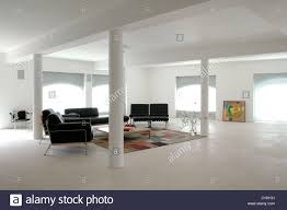 Open Seating Living Room White Pillars In Open Plan White And Red French Apartment Living