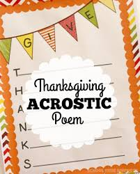 give thanks acrostic poem thanksgiving printable school time