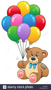 balloons and teddy bears teddy holding balloons isolated illustration stock