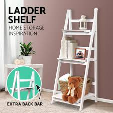 wooden ladder shelf 3 tier stand storage book shelves shelving