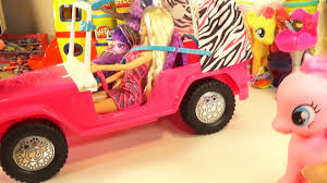 barbie toy cars my little pony equestria girls pinkie pie barbie jeep safari