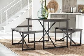 Dining Room Tables Set Signature Design By Ashley Joring Dark Brown 3 Piece Rectangular