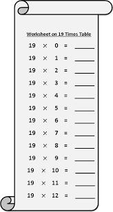 worksheet on 19 times table printable multiplication table 19