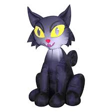 halloween inflatable shop gemmy outdoor scary cat 3 51 ft x 2 29 ft lighted black cat