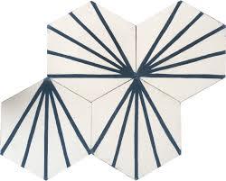 hexagonal graphic chalk white with marine blue encaustic cement