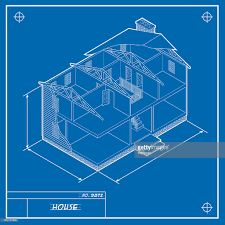 house blue print isometric house blueprint b vector art getty images