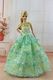 green fashion princess dress wedding clothes gown for barbie doll