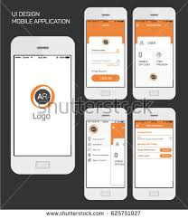 application ui design mobile application ui interface design vector stock vector