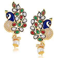 peacock design earrings buy sukkhi gold plated australian diamond dangle drop earring