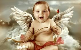 baby with wings holding a bow and arrow illustration hd wallpaper