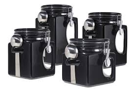 oggi ez grip handle ceramic 4 piece canister set black amazon