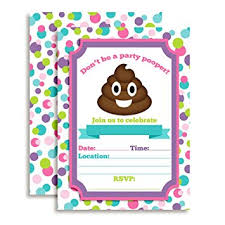 birthday party invitations emoji party pooper girl birthday party invitations