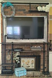 diy faux industrial shelves hide tv cords hide tv and