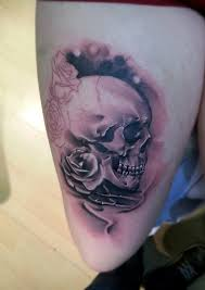 skull and roses tattoo by littlerock3dd on deviantart
