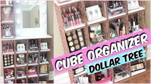 dollar tree cube organizer vanity tutorial d i y youtube