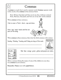 1st grade writing worksheets commas greatschools