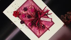 burgundy bouquet hand made birthday card greeting card