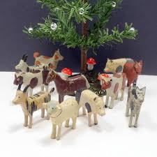 vintage wooden farm animals erzgebirge putz x 11 germany noah s