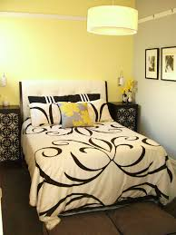 black white and yellow bedroom