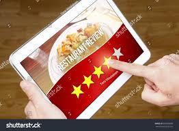 restaurant review satisfied happy customer stock photo