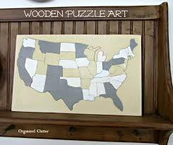 Usa Puzzle Map by Organized Clutter Vintage Wood Puzzle Art
