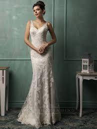 straps v neckline lace low backless wedding dress lidress com