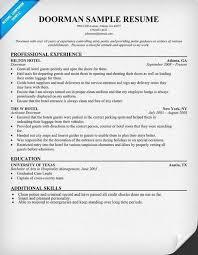amazing doorman resume contemporary simple resume office