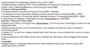 Resume For Tutoring Position Is This The Perfect Graduate Cv For An Investment Bank
