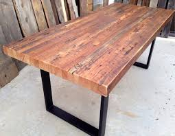 reclaimed wood outdoor table custom outdoor indoor exposed edge rustic industrial