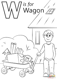 letter w is for wagon coloring page free printable coloring pages