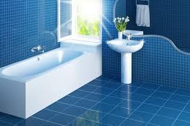 interior great blue theme small bathroom with rectangular soaking