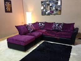 Roma Corner Sofa Oscar Purple And Black Corner Sofa With Floral Pattern And Stool
