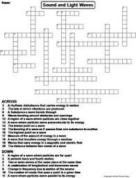 properties of sound and light waves worksheet crossword puzzle by