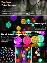 Solar String Lights For Gazebo by Amazon Com Easydecor Globe Solar String Lights 30 Led 21ft 8 Mode