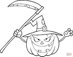 halloween scaryn pumpkin with witch hat and scythe coloring page