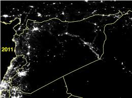 Satellite Map World Live by Satellite Images Show How War Turned Out The Lights In Syria