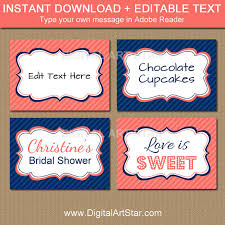 Candy Labels For Candy Buffet by Coral Navy Blue Printable Buffet Cards Bridal Labels